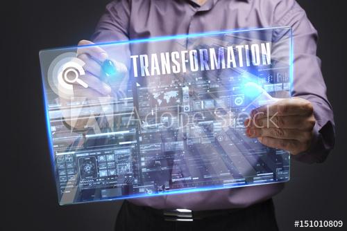 Man holding transformation screen