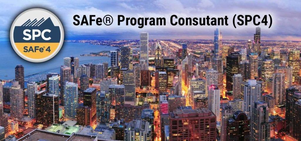 Chicago Illinois Skyline with text SAFe Program Consultant SPC4 badeg