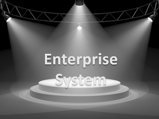 Lit up stage with text Enterprise System