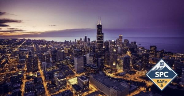 Chicago skyline with SPC 5 Badge