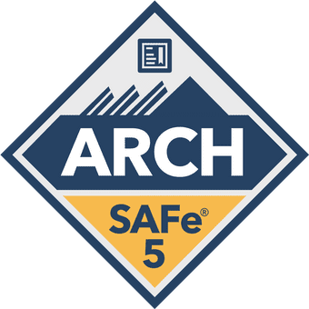SAFe 5 ARCH Badge in blue and yellow