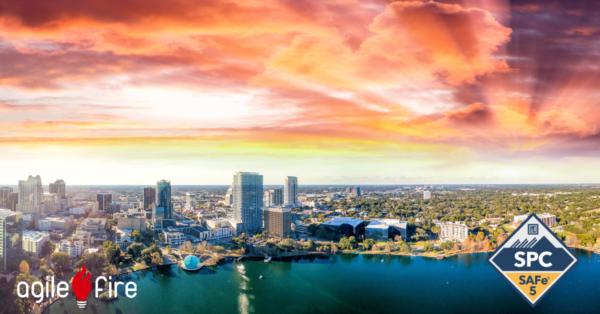 Orlando Florida Skyline at sunrise with SAFe 5 SPC badge