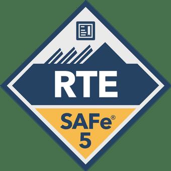 SAFe 5 RTE blue and gold badge