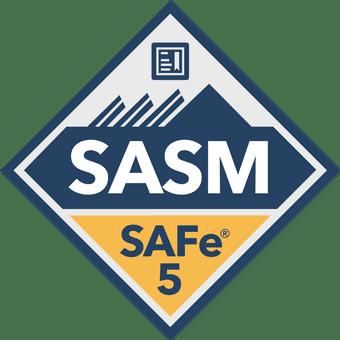 SAFe 5 SASM blue and gold certificate badge
