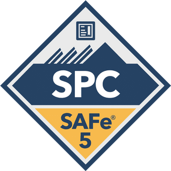 Blue and yellow SAFe 5 SPC badge