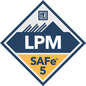 SAFe 5 LPM blue and yellow badge