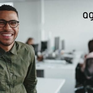 Professional man with glasses and the AgileFire logo